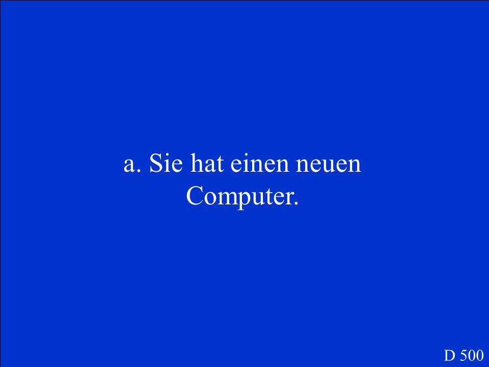 a. Sie hat einen neuen Computer.