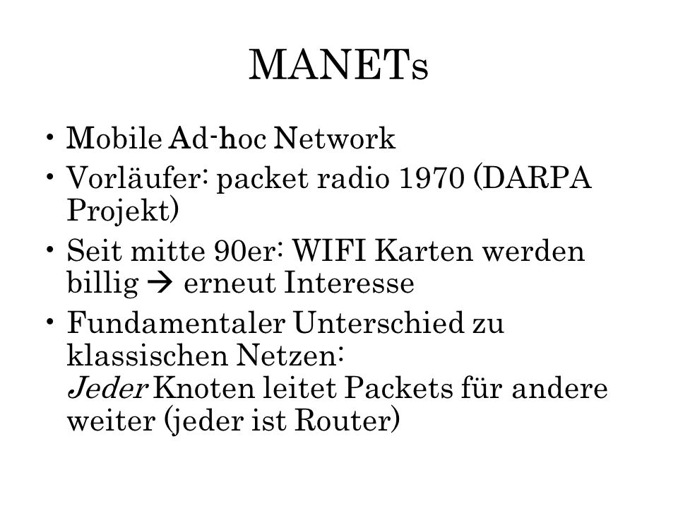 MANETs Mobile Ad-hoc Network