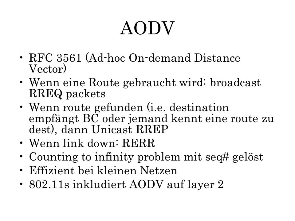 AODV RFC 3561 (Ad-hoc On-demand Distance Vector)