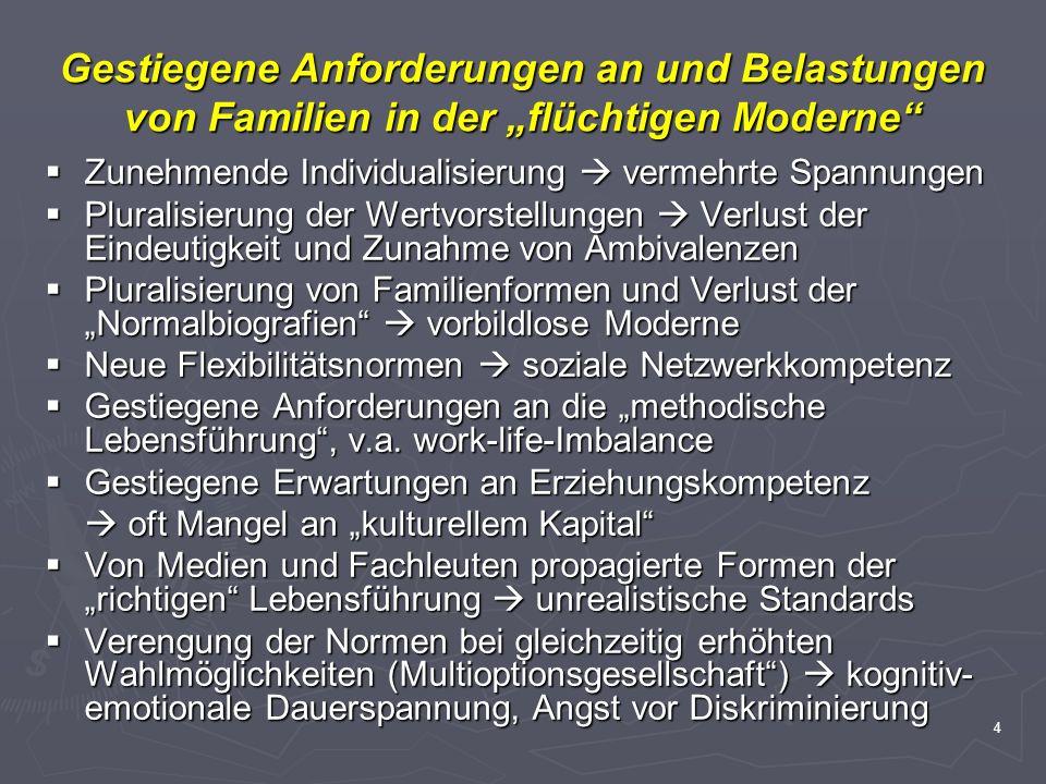 """Gestiegene Anforderungen an und Belastungen von Familien in der """"flüchtigen Moderne"""