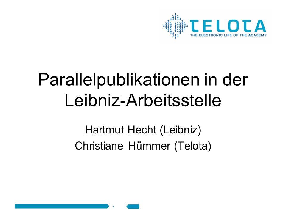 Parallelpublikationen in der Leibniz-Arbeitsstelle
