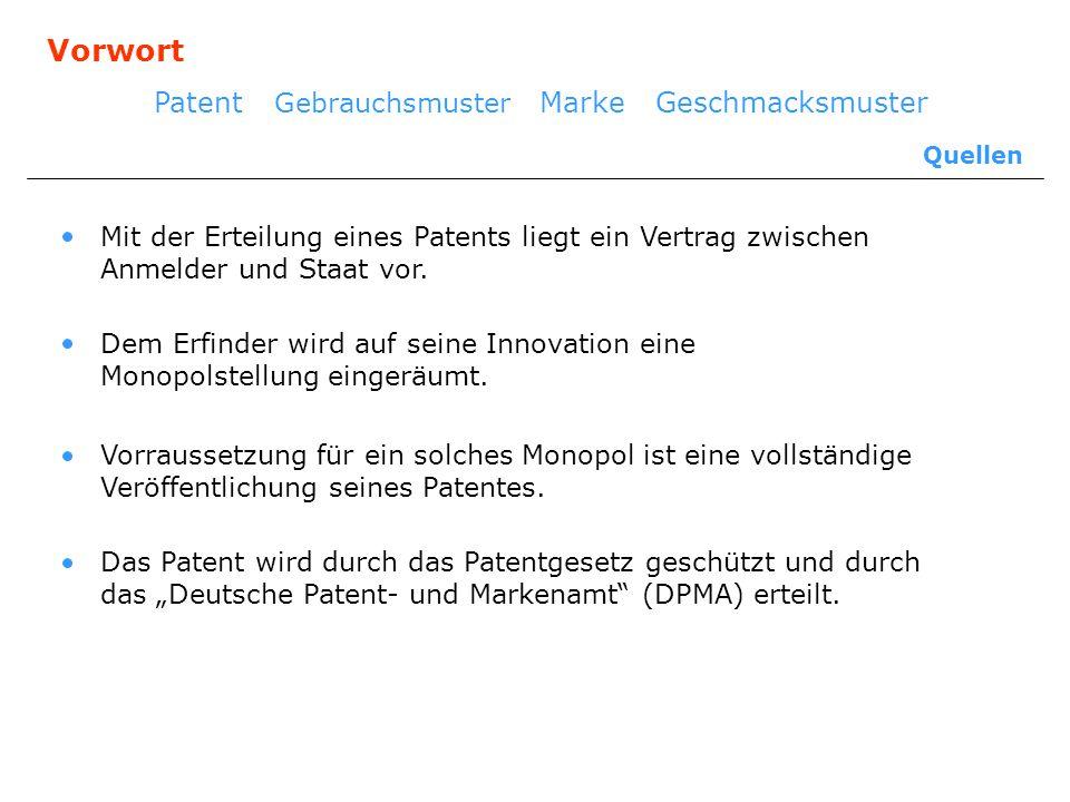 Vorwort Patent Gebrauchsmuster Marke Geschmacksmuster Quellen