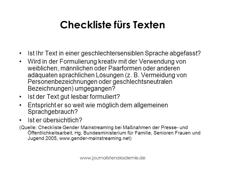 Checkliste fürs Texten