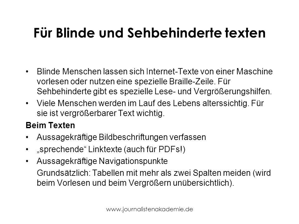 Für Blinde und Sehbehinderte texten