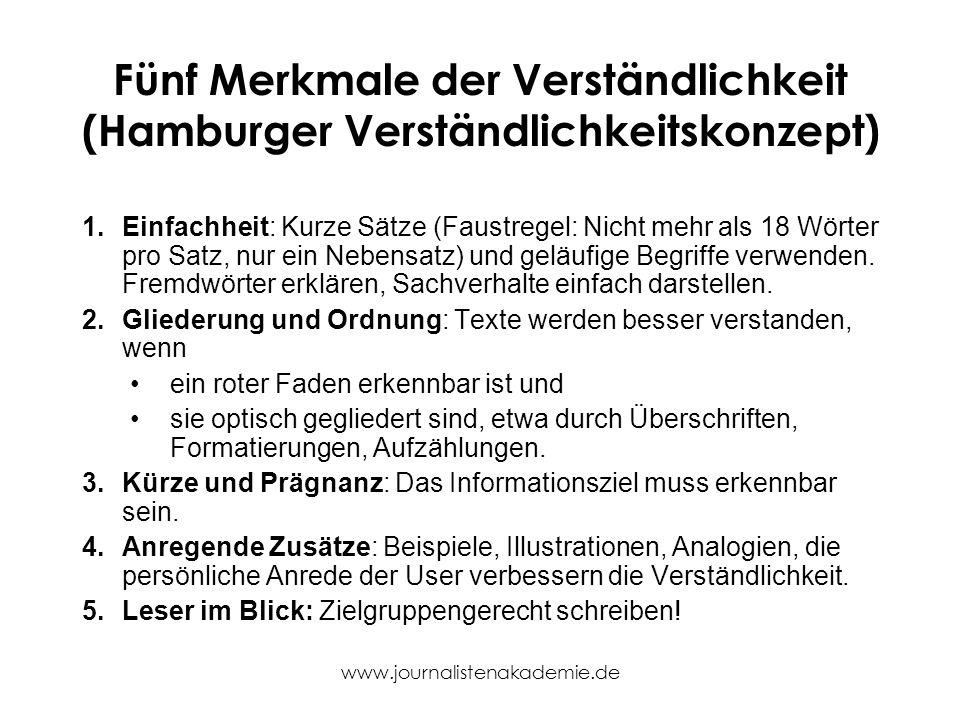Fünf Merkmale der Verständlichkeit (Hamburger Verständlichkeitskonzept)