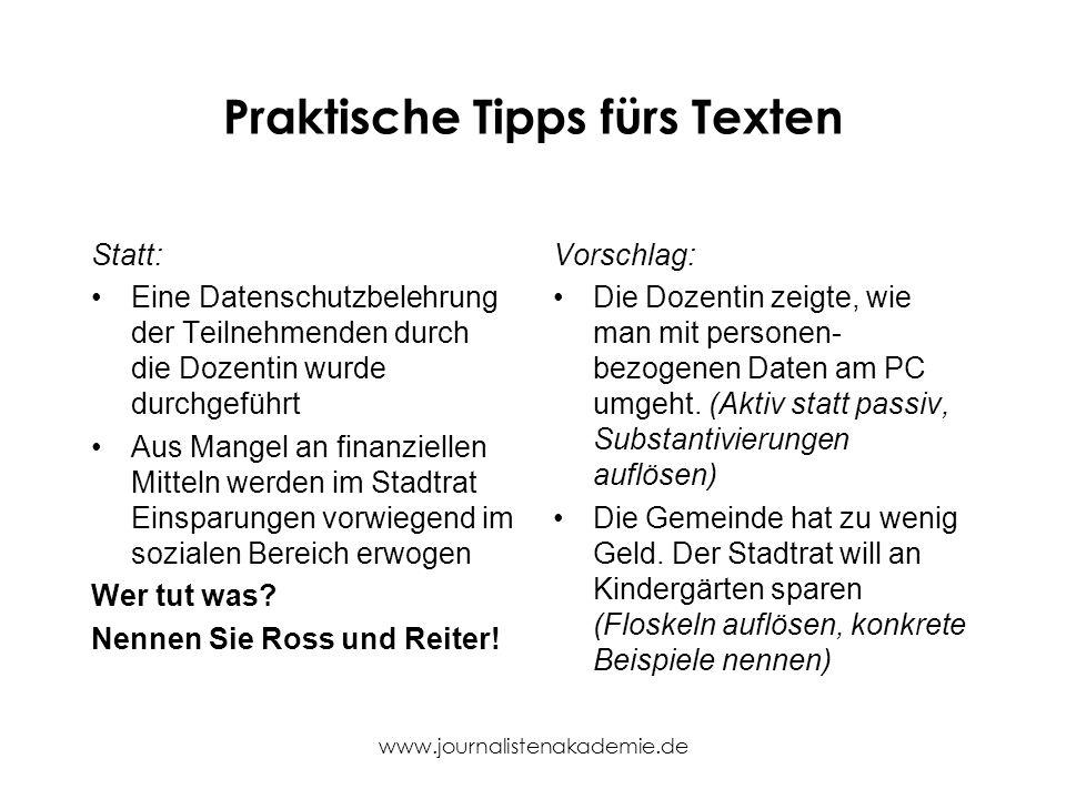 Praktische Tipps fürs Texten