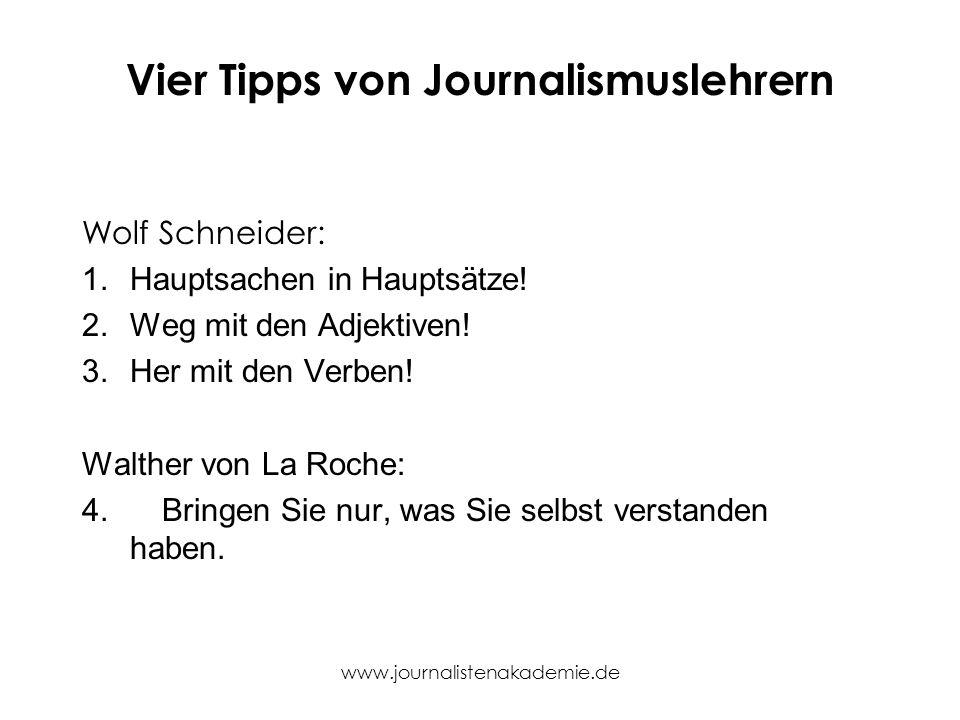 Vier Tipps von Journalismuslehrern