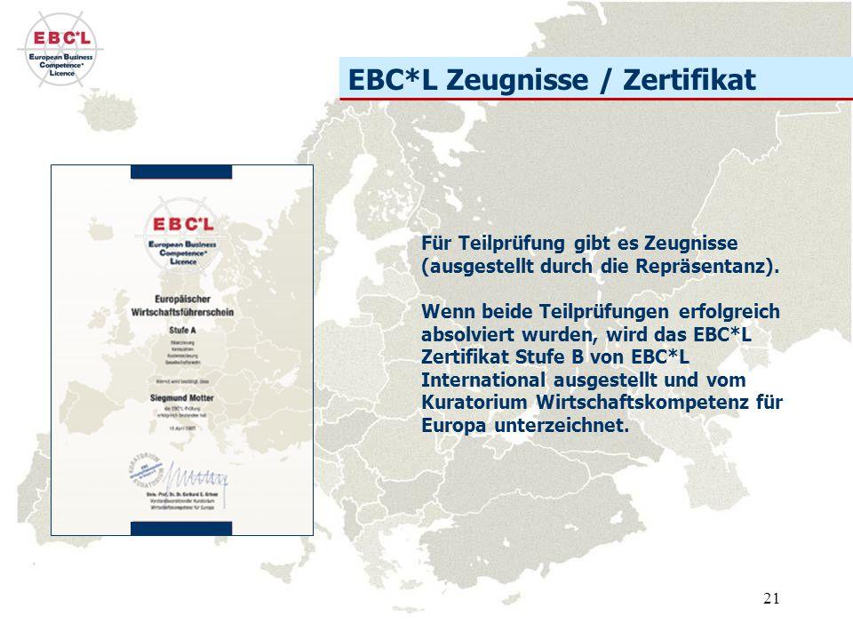 EBC*L Zeugnisse / Zertifikat