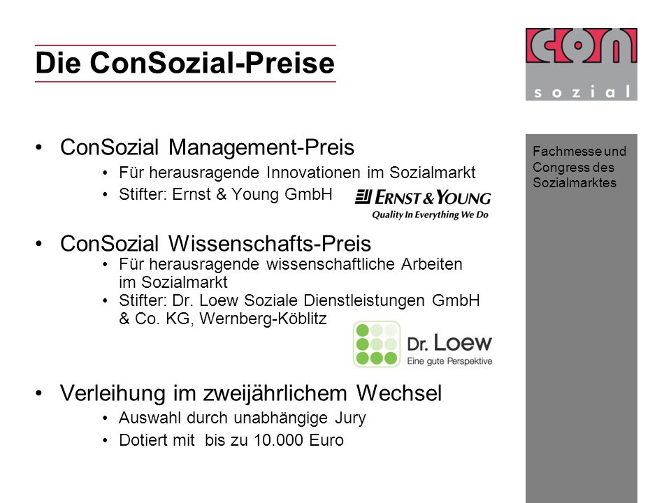 Die ConSozial-Preise ConSozial Management-Preis