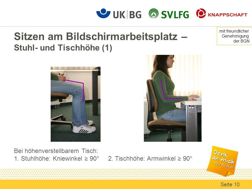 Sitzen am Bildschirmarbeitsplatz – Stuhl- und Tischhöhe (1)