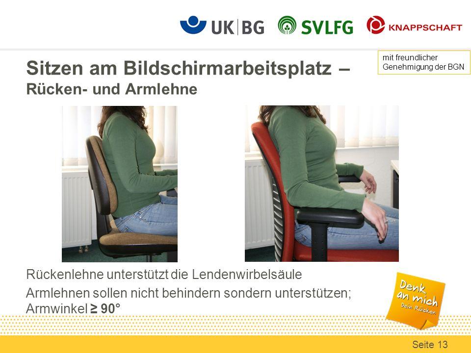Sitzen am Bildschirmarbeitsplatz – Rücken- und Armlehne