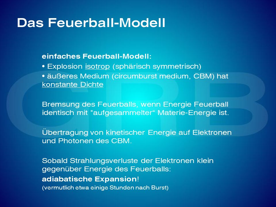 Das Feuerball-Modell einfaches Feuerball-Modell: