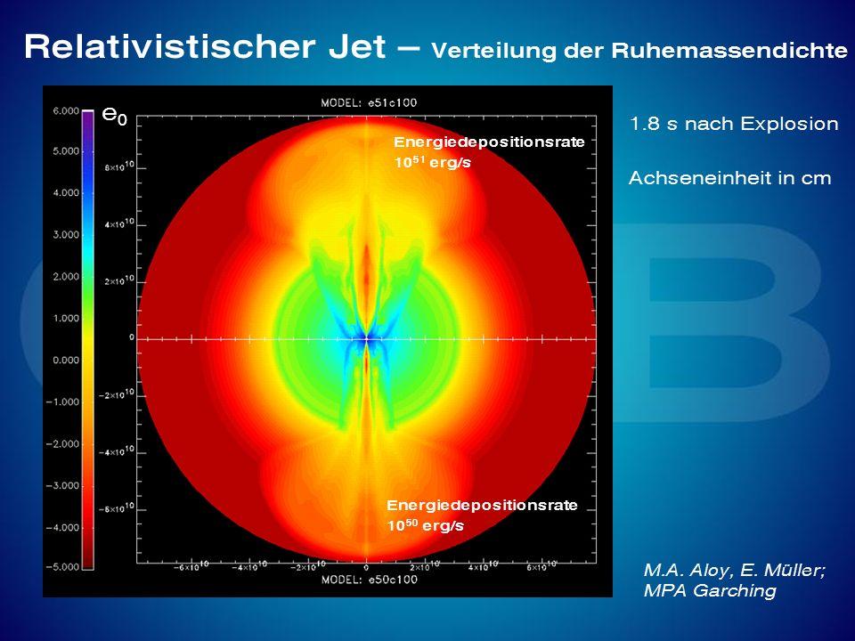 Relativistischer Jet – Verteilung der Ruhemassendichte