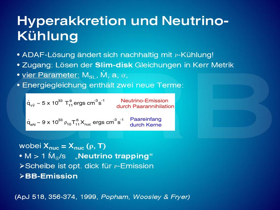 Hyperakkretion und Neutrino-Kühlung