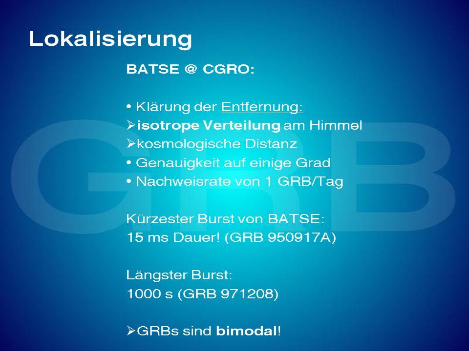 Lokalisierung BATSE @ CGRO: Klärung der Entfernung: