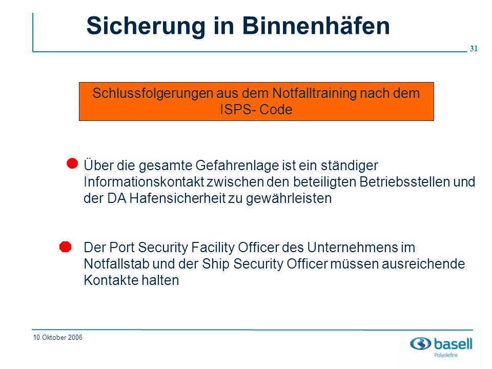 Sicherung in Binnenhäfen