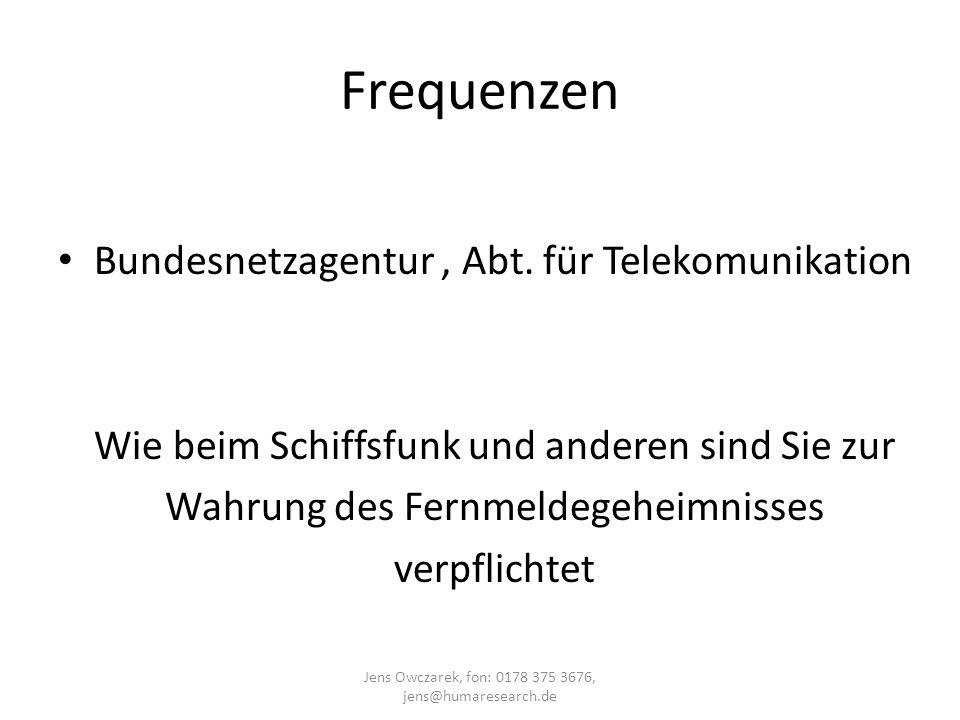 Frequenzen Bundesnetzagentur , Abt. für Telekomunikation