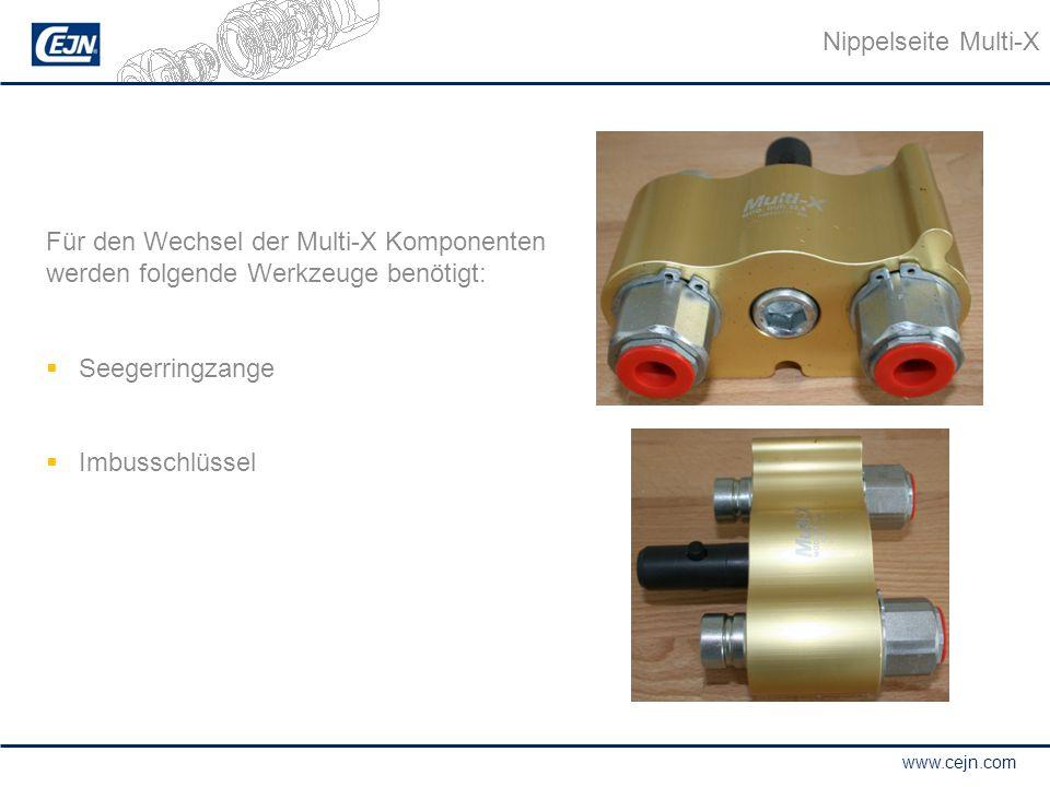 Nippelseite Multi-X Für den Wechsel der Multi-X Komponenten werden folgende Werkzeuge benötigt: Seegerringzange.
