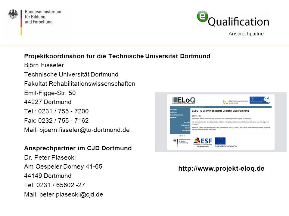Ansprechpartner Projektkoordination für die Technische Universität Dortmund. Björn Fisseler. Technische Universität Dortmund.