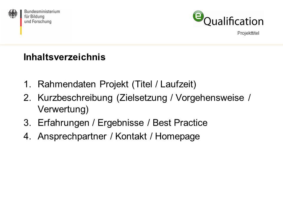 Rahmendaten Projekt (Titel / Laufzeit)