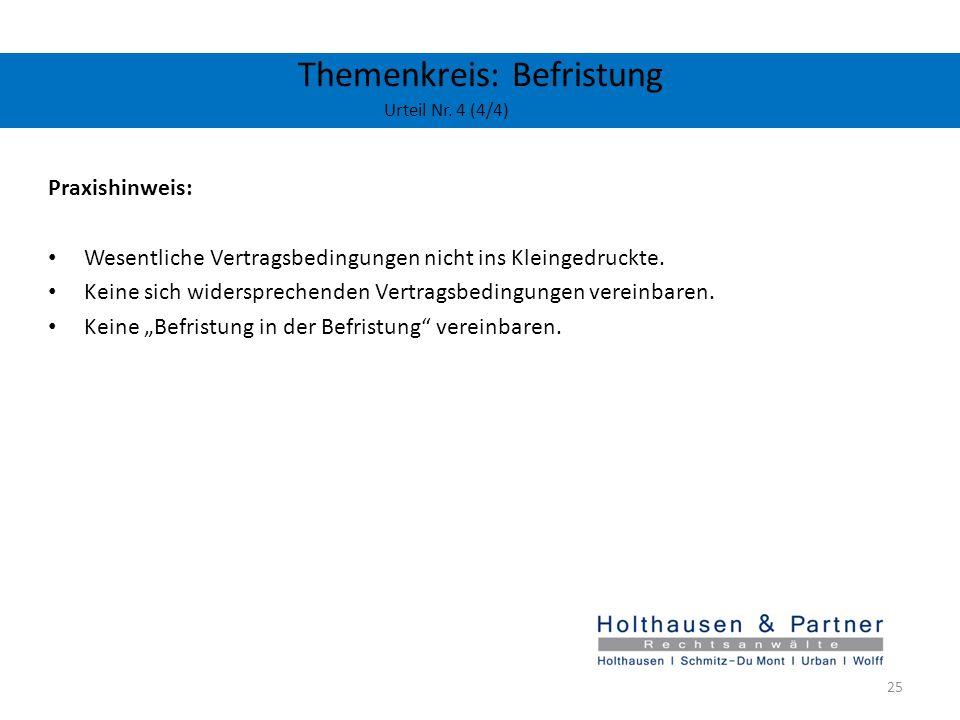 Themenkreis: Befristung Urteil Nr. 4 (4/4)