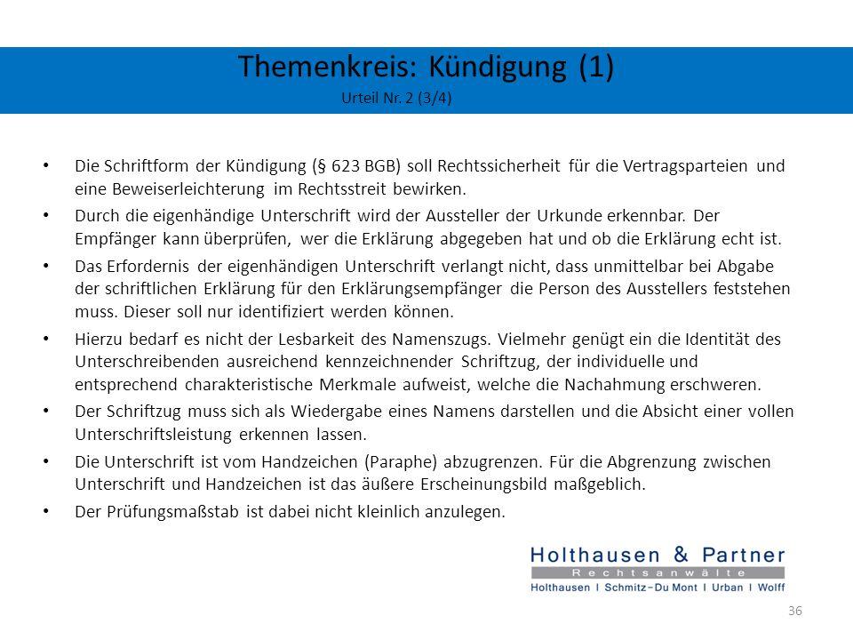 Themenkreis: Kündigung (1) Urteil Nr. 2 (3/4)