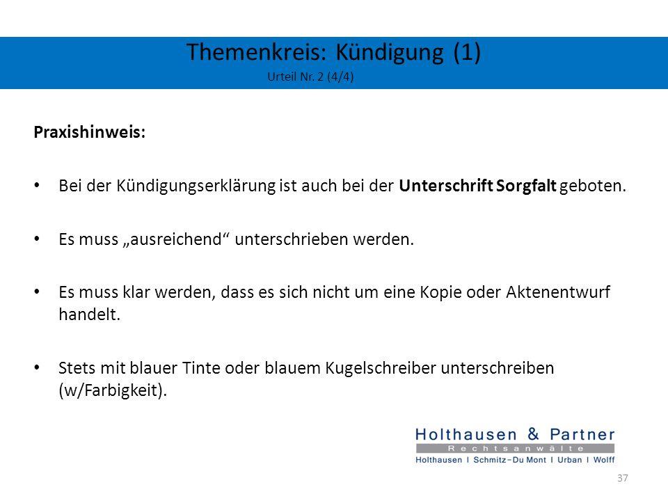 Themenkreis: Kündigung (1) Urteil Nr. 2 (4/4)