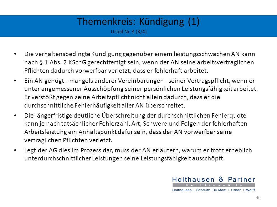 Themenkreis: Kündigung (1) Urteil Nr. 3 (3/4)