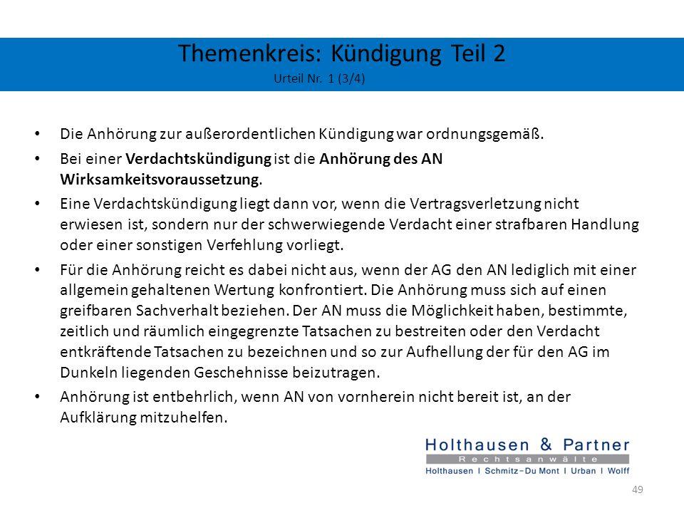 Themenkreis: Kündigung Teil 2 Urteil Nr. 1 (3/4)