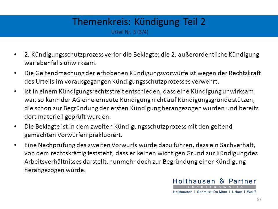 Themenkreis: Kündigung Teil 2 Urteil Nr. 3 (3/4)