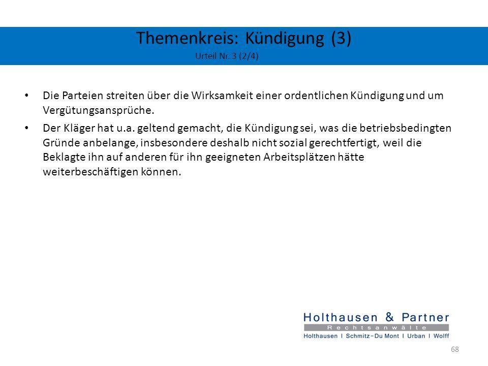 Themenkreis: Kündigung (3) Urteil Nr. 3 (2/4)