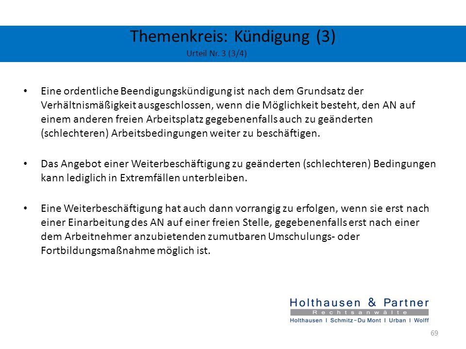 Themenkreis: Kündigung (3) Urteil Nr. 3 (3/4)