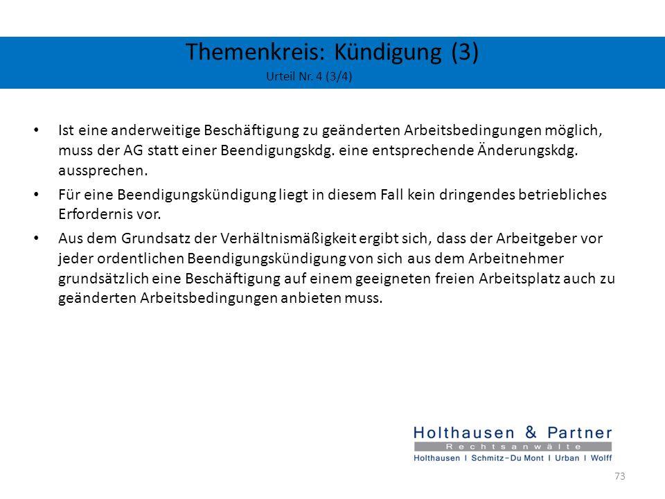 Themenkreis: Kündigung (3) Urteil Nr. 4 (3/4)