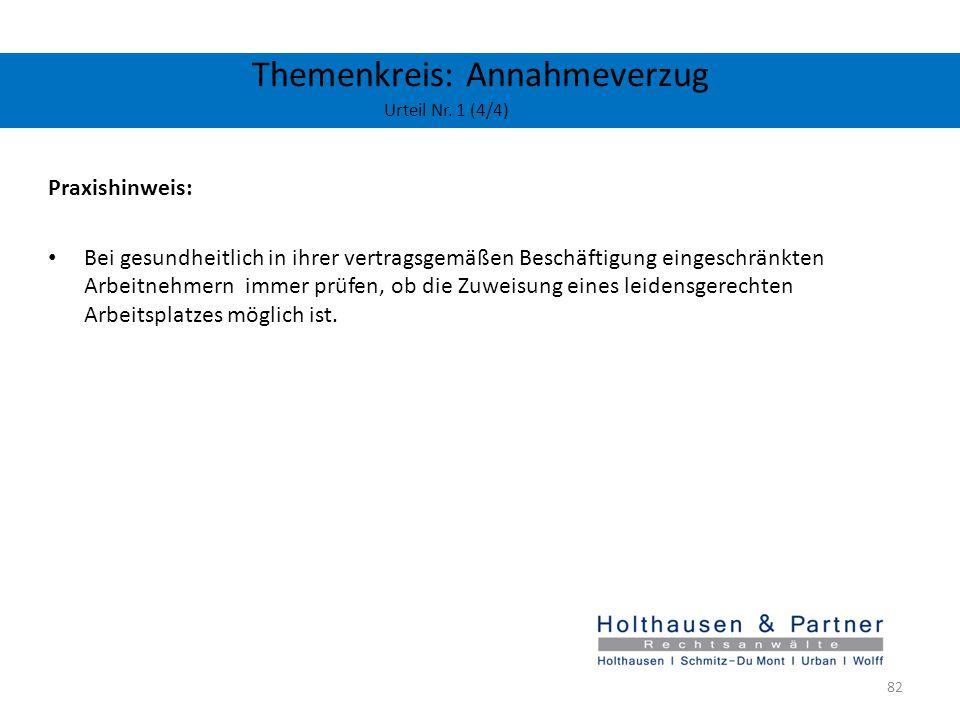 Themenkreis: Annahmeverzug Urteil Nr. 1 (4/4)