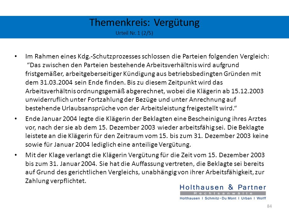 Themenkreis: Vergütung Urteil Nr. 1 (2/5)