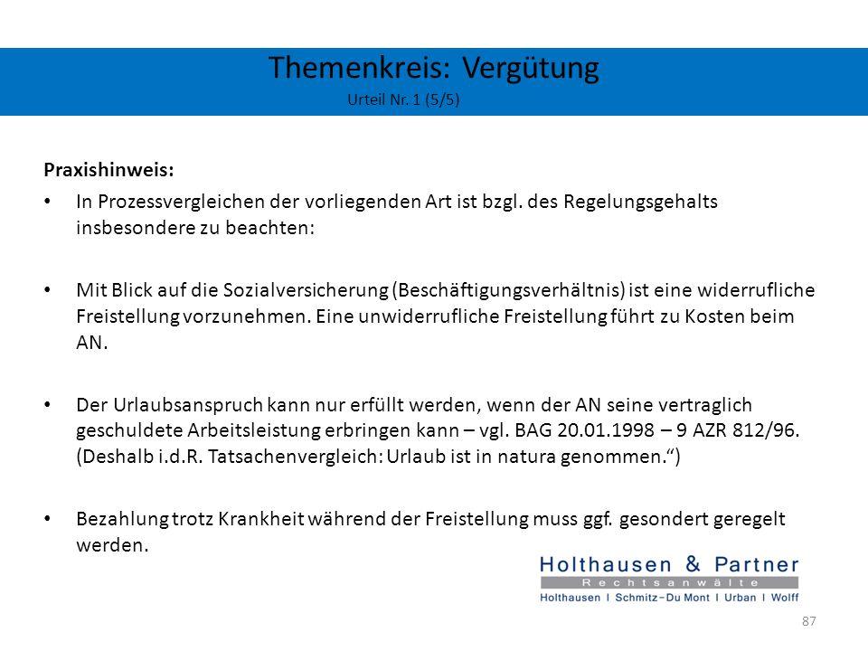 Themenkreis: Vergütung Urteil Nr. 1 (5/5)