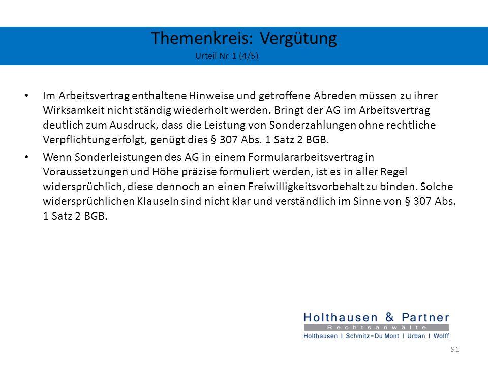 Themenkreis: Vergütung Urteil Nr. 1 (4/5)