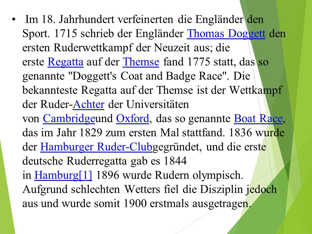 Im 18. Jahrhundert verfeinerten die Engländer den Sport