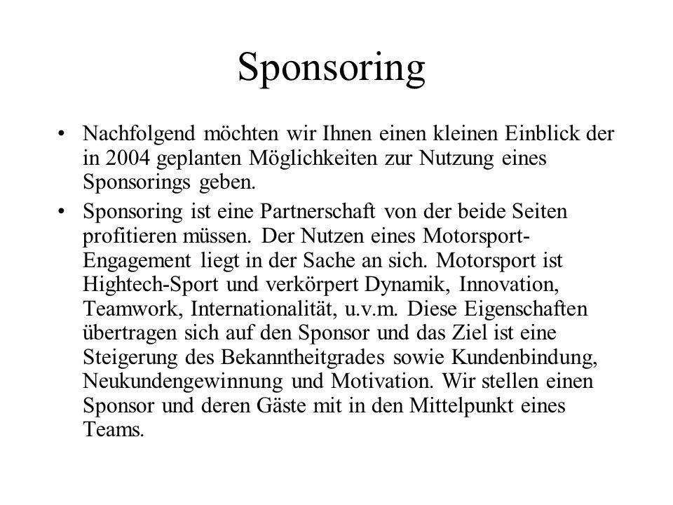 Sponsoring Nachfolgend möchten wir Ihnen einen kleinen Einblick der in 2004 geplanten Möglichkeiten zur Nutzung eines Sponsorings geben.