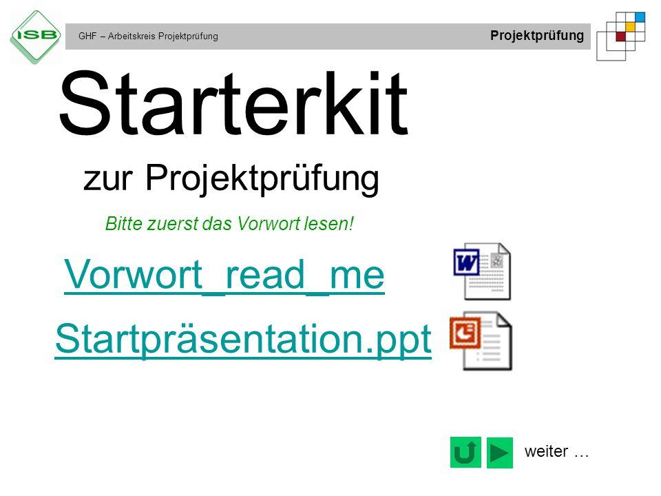 Starterkit zur Projektprüfung