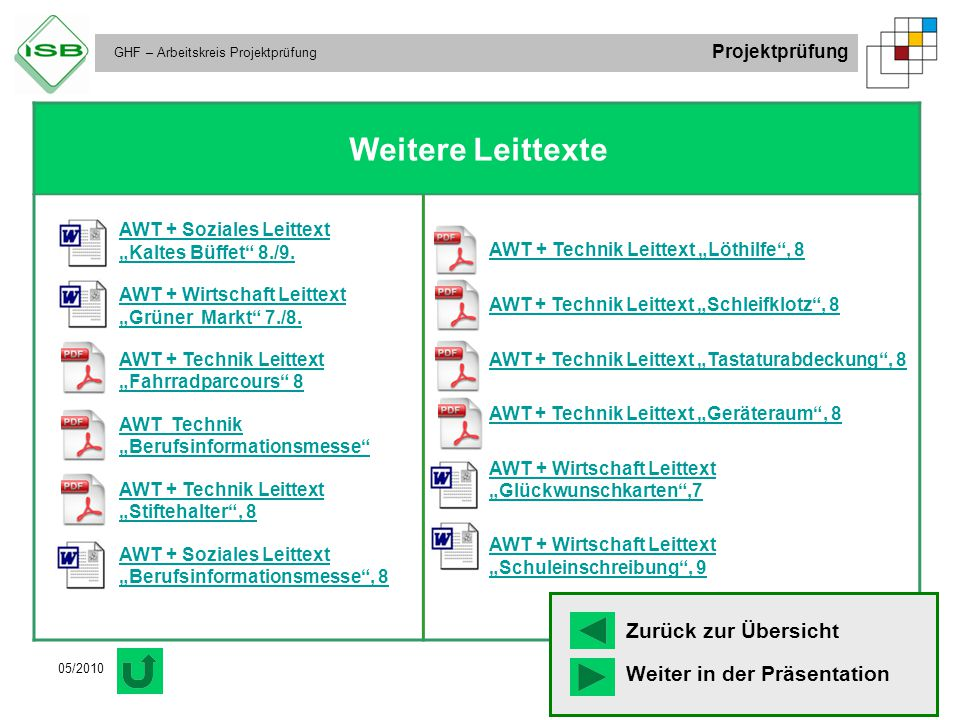 "Weitere Leittexte AWT + Soziales Leittext ""Kaltes Büffet 8./9."