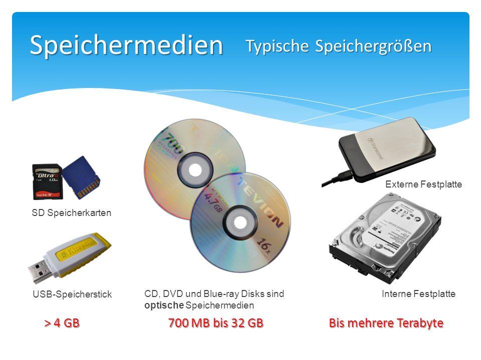 Speichermedien Typische Speichergrößen > 4 GB 700 MB bis 32 GB