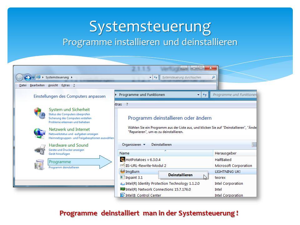 Systemsteuerung Programme installieren und deinstallieren