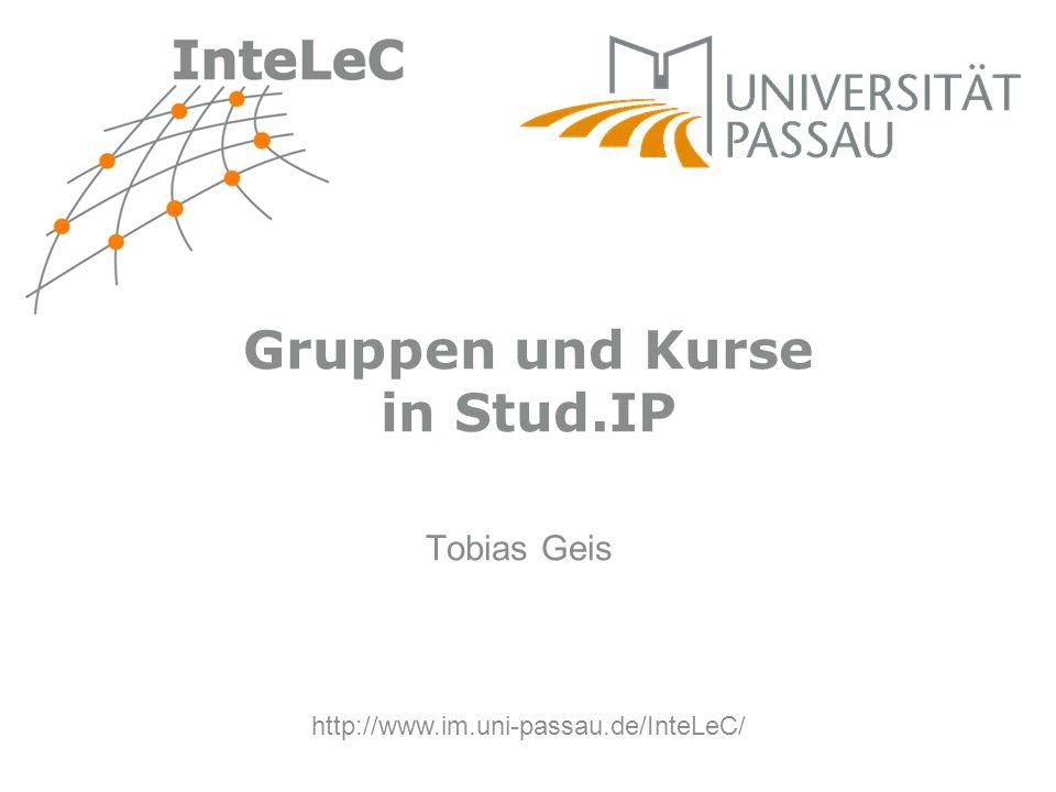 Gruppen und Kurse in Stud.IP