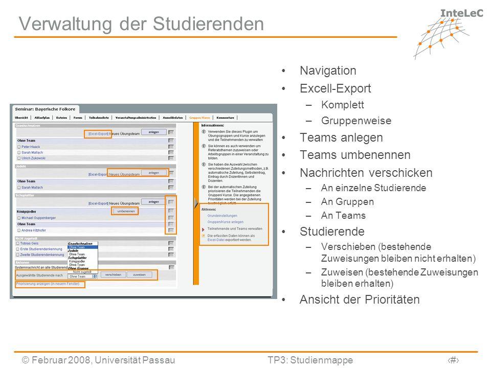 Verwaltung der Studierenden