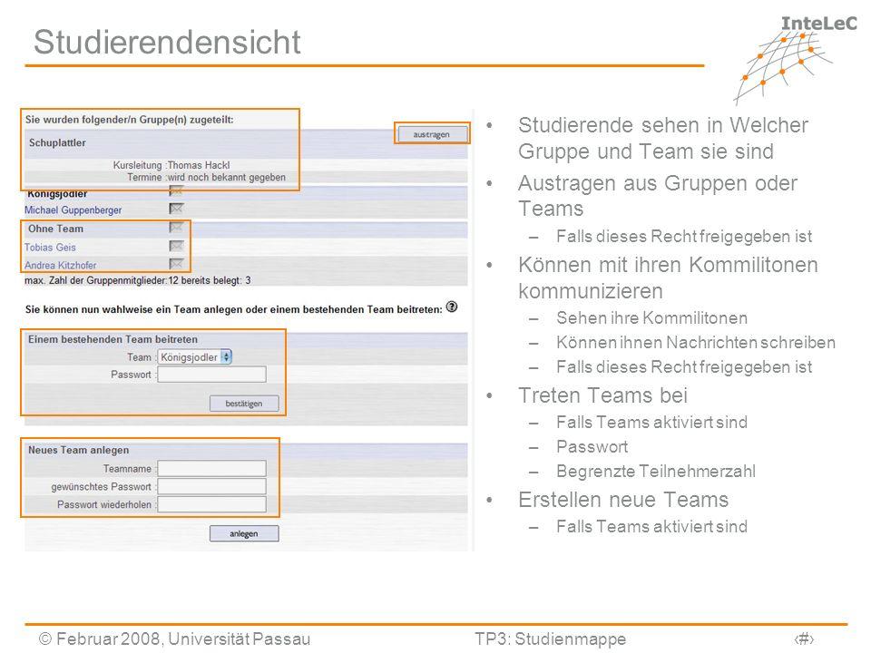 Studierendensicht Studierende sehen in Welcher Gruppe und Team sie sind. Austragen aus Gruppen oder Teams.