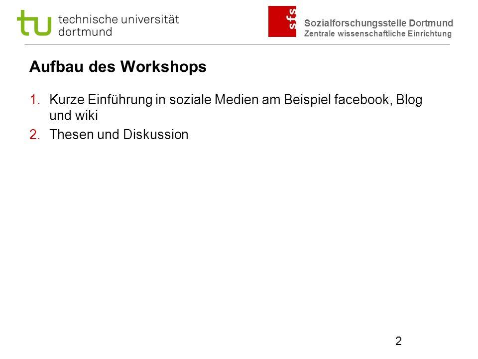 Aufbau des Workshops Kurze Einführung in soziale Medien am Beispiel facebook, Blog und wiki. Thesen und Diskussion.