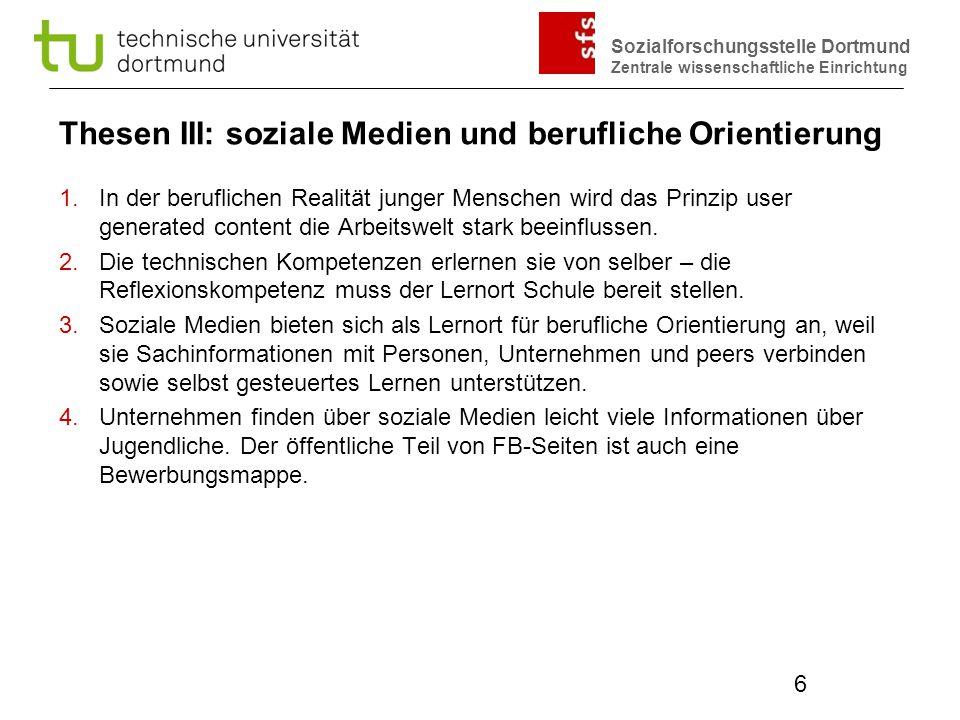 Thesen III: soziale Medien und berufliche Orientierung
