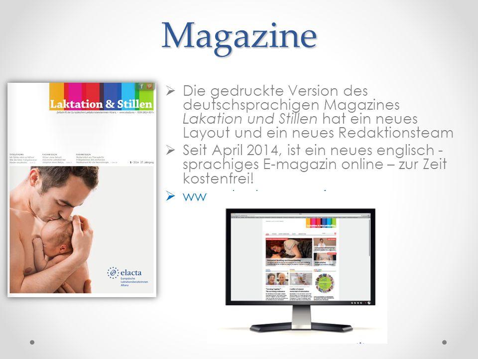 Magazine Die gedruckte Version des deutschsprachigen Magazines Lakation und Stillen hat ein neues Layout und ein neues Redaktionsteam.