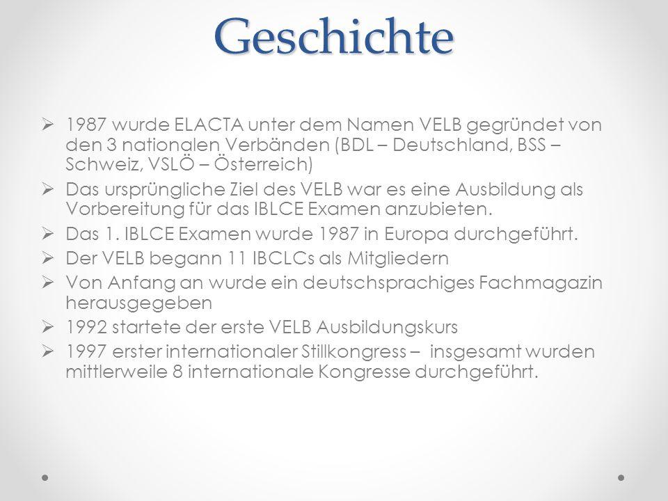 Geschichte 1987 wurde ELACTA unter dem Namen VELB gegründet von den 3 nationalen Verbänden (BDL – Deutschland, BSS – Schweiz, VSLÖ – Österreich)